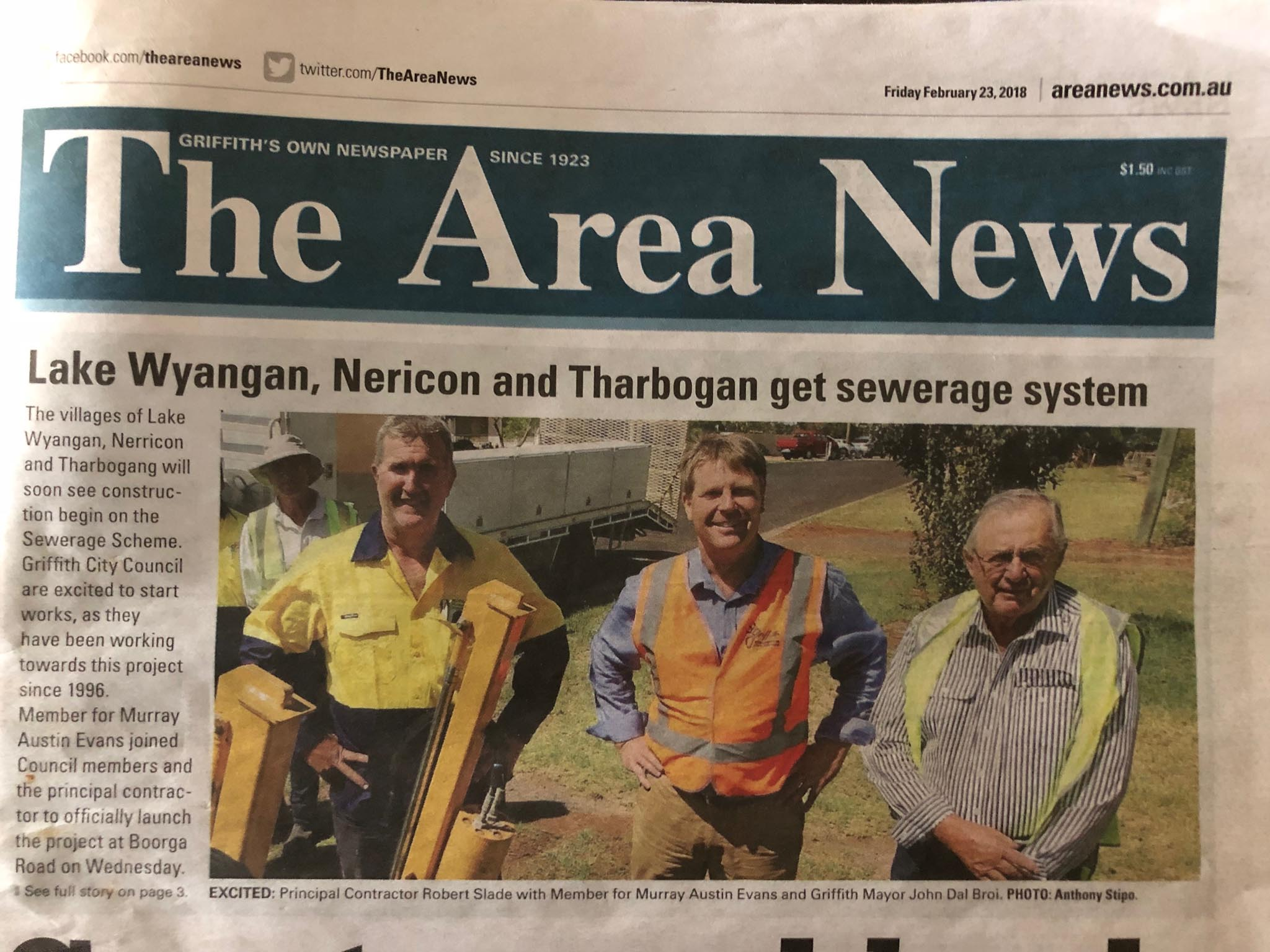 Council sewerage system installation